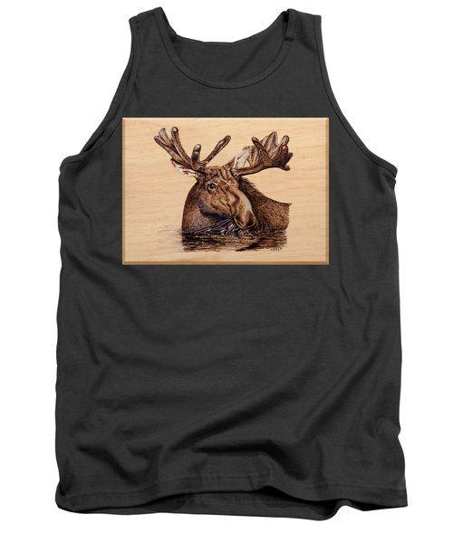 Tank Top featuring the pyrography Marsh Moose by Ron Haist