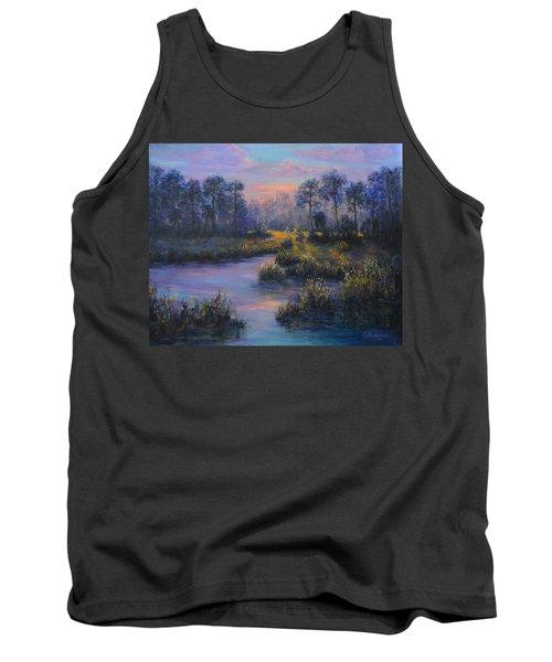Marsh Sunset Nature Wetland Trees Print Of Panting Tank Top