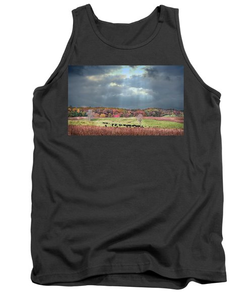 Maryland Farm With Autumn Colors And Approaching Storm Tank Top