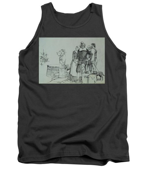 Tank Top featuring the drawing Mayflower Departure. by Mike Jeffries