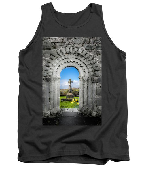 Tank Top featuring the photograph Medieval Arch And High Cross, County Clare, Ireland by James Truett