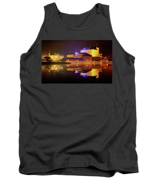 Medieval Castle By The Lake At Night Tank Top