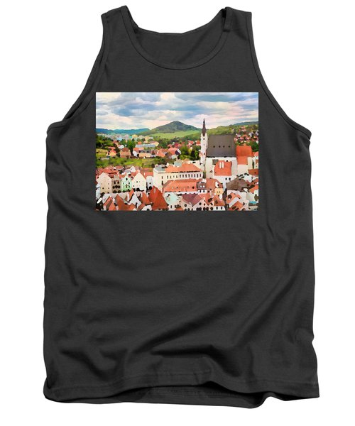Tank Top featuring the digital art Medieval Village  by Shelli Fitzpatrick