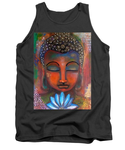 Meditating Buddha With A Blue Lotus Tank Top by Prerna Poojara