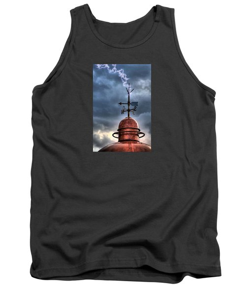 Menorca Copper Lighthouse Dome With Lightning Rod Under A Bluish And Stormy Sky And Lightning Effect Tank Top by Pedro Cardona