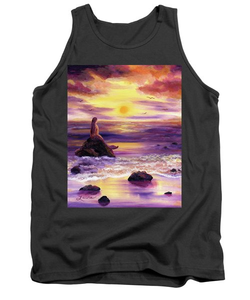 Mermaid In Purple Sunset Tank Top by Laura Iverson