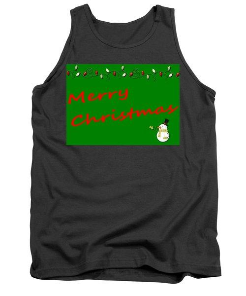Merry Christmas Little Snow Man On Green Tank Top