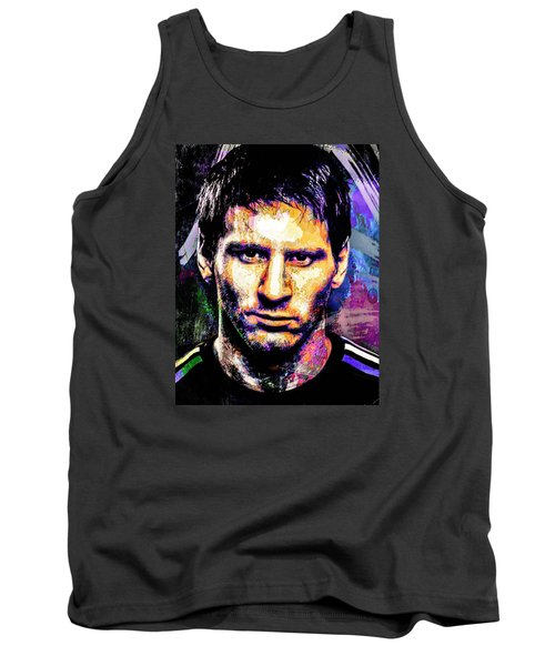 Tank Top featuring the mixed media Messi by Svelby Art