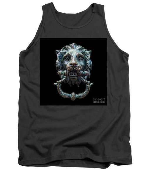 Tank Top featuring the photograph Metal Lion Head Doorknocker Isolated Black by Antony McAulay