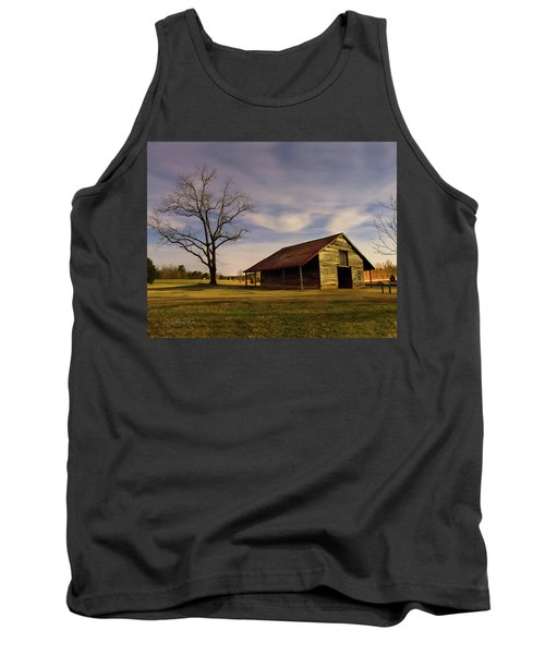 Tank Top featuring the photograph Midnight At The Mule Barn by George Randy Bass
