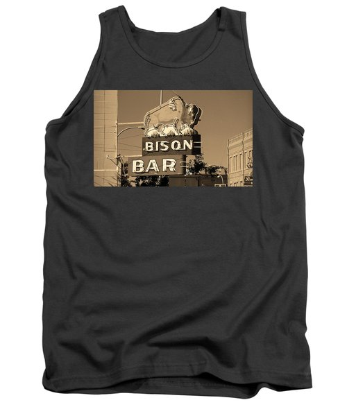 Miles City, Montana - Bison Bar Sepia Tank Top