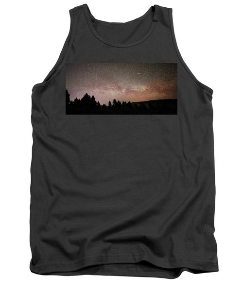 Milky Way Over Mammoth Hot Springs With Pink Glow From Aurora Borealis Tank Top