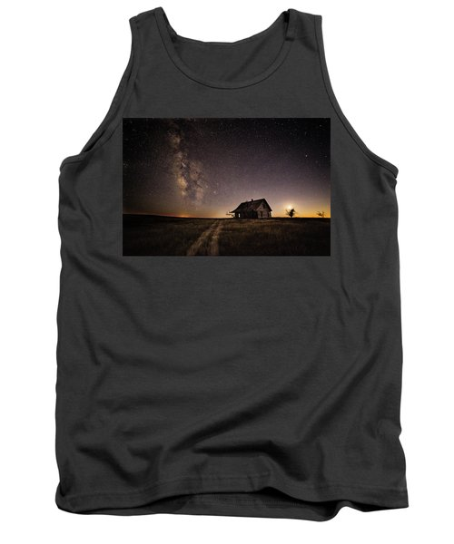Tank Top featuring the photograph Milky Way Over Prairie House by Kristal Kraft