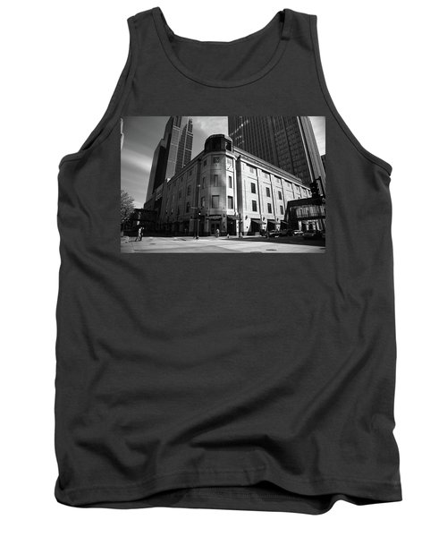 Tank Top featuring the photograph Minneapolis Downtown Bw by Frank Romeo