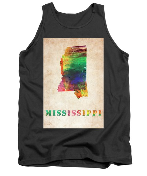Mississippi Colorful Watercolor Map Tank Top
