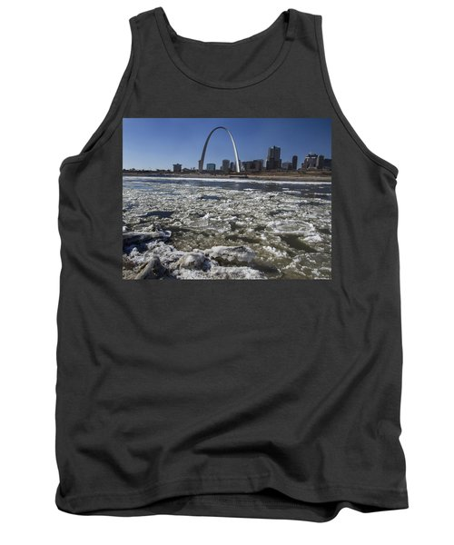 Mississippi Rive In The Winter With Ice  Tank Top