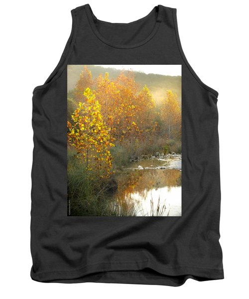 Misty Sunrise At Lost Maples State Park Tank Top by Debbie Karnes