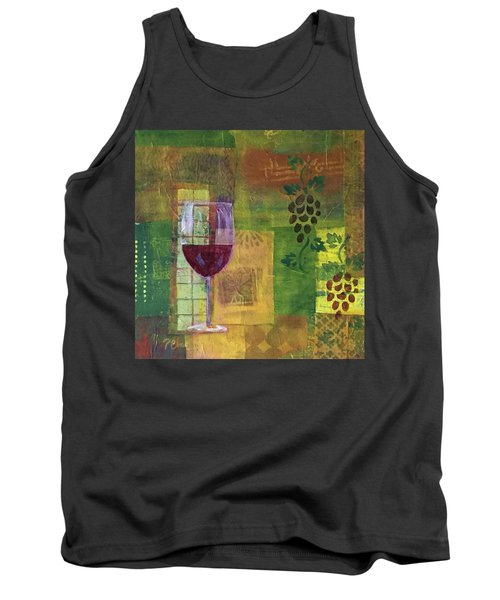 Mixed Media Painting Wine Tank Top by Patricia Cleasby