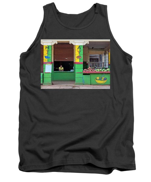 Tank Top featuring the photograph Mjay Fruit Stand Havana Cuba by Charles Harden