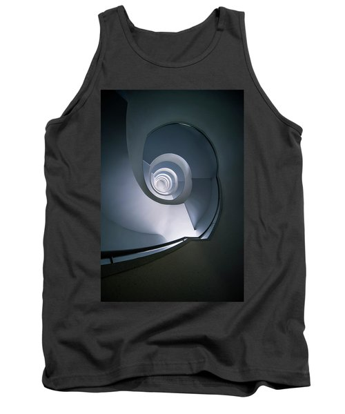 Tank Top featuring the photograph Modern Blue Spiral Staircase by Jaroslaw Blaminsky