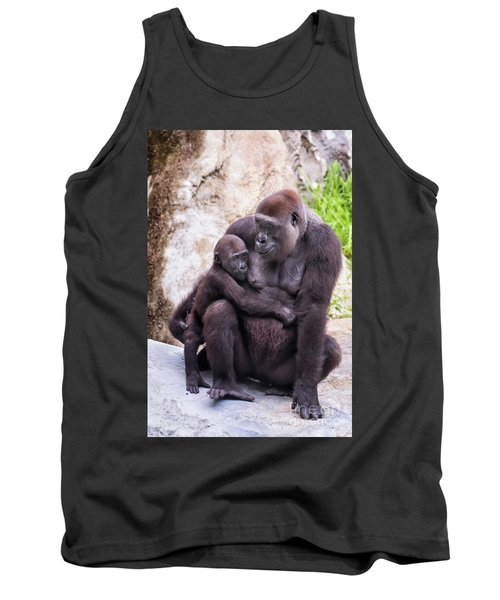 Mom And Baby Gorilla Sitting Tank Top by Stephanie Hayes
