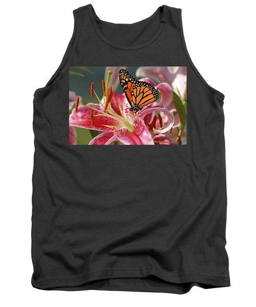 Monarch On A Stargazer Lily Tank Top