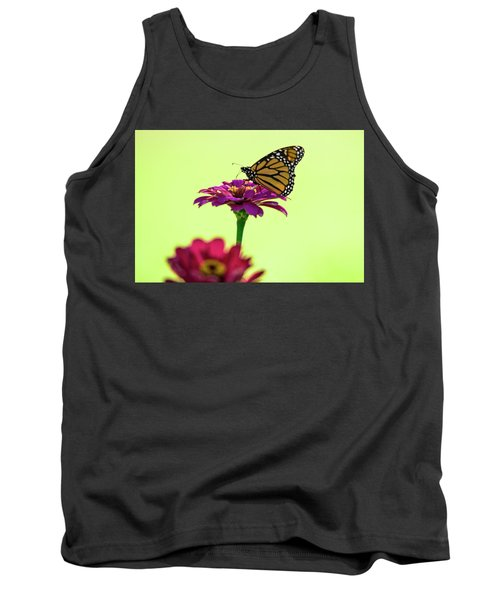 Monarch On A Zinnia Tank Top by Shelly Gunderson