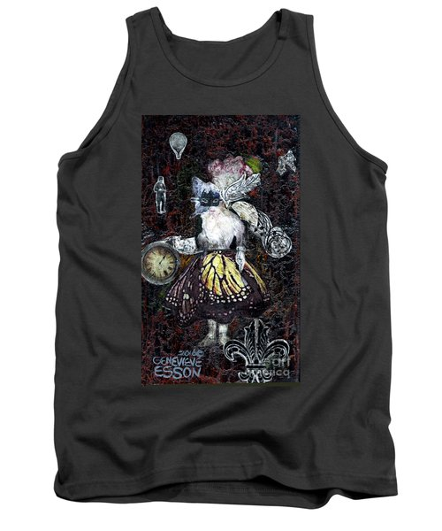 Tank Top featuring the mixed media Monarch Steampunk Goddess by Genevieve Esson