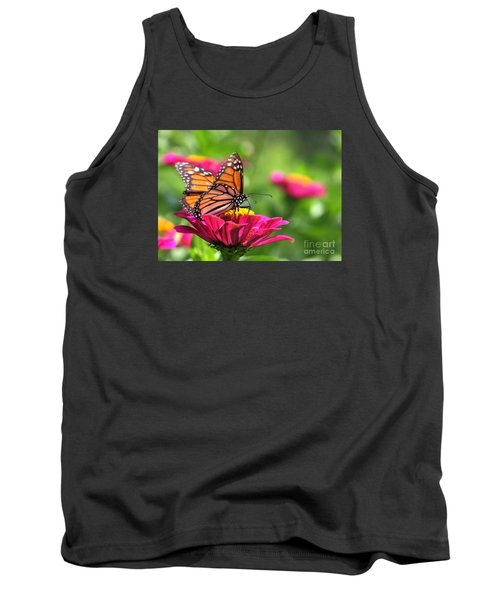 Monarch Visiting Zinnia Tank Top