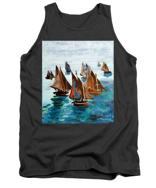 Monet Fishing Boats Calm Seas Tank Top by Scott D Van Osdol