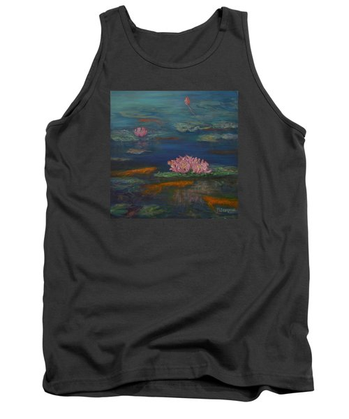 Monet Inspired Water Lilies With Gold Fish In A Pond Tank Top
