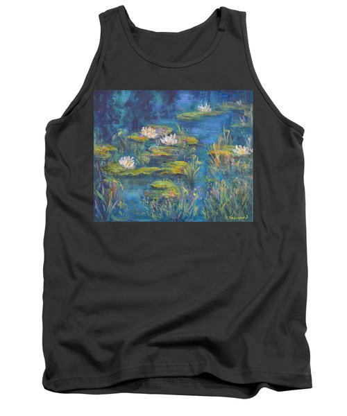Monet Style Water Lily Marsh Wetland Landscape Painting Tank Top