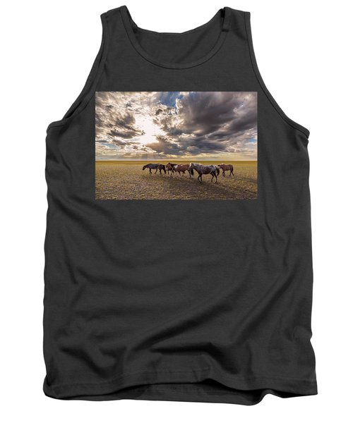 Tank Top featuring the photograph Mongolian Horses by Hitendra SINKAR