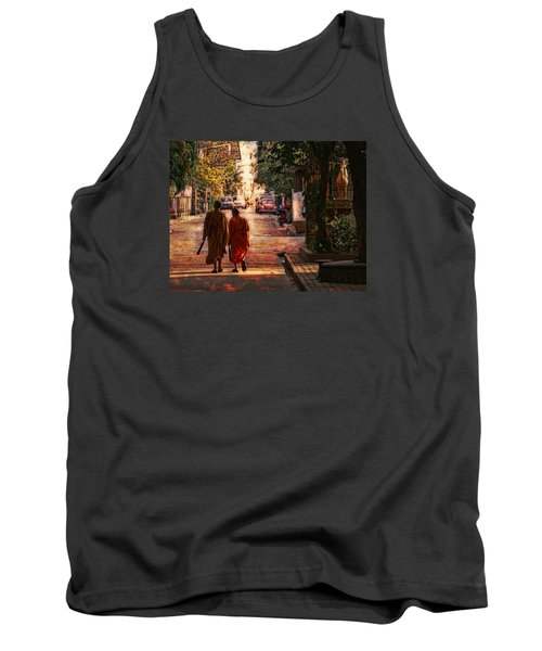 Tank Top featuring the digital art Monk Mates by Cameron Wood