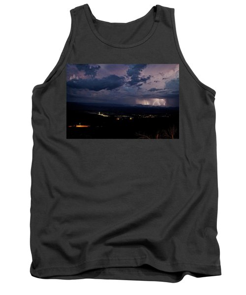 Tank Top featuring the photograph Monsoon Lightning Over Sedona From Jerome Az by Ron Chilston