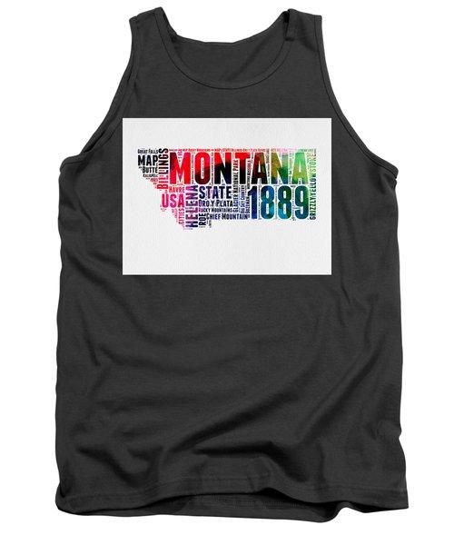 Montana Watercolor Word Cloud  Tank Top