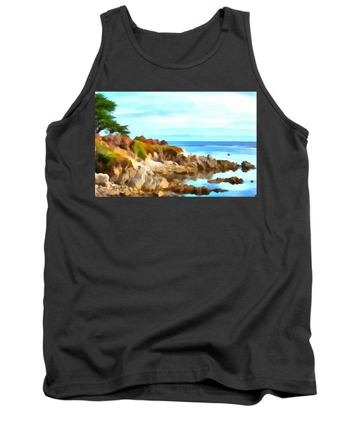 Tank Top featuring the photograph Monterey Coastline Watercolor by Floyd Snyder