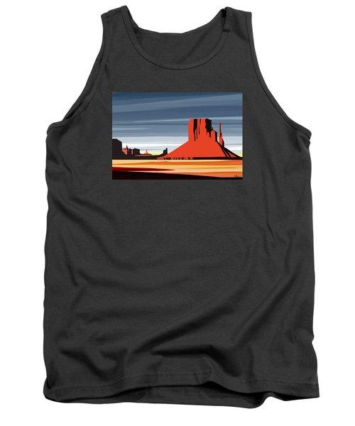 Monument Valley Sunset Digital Realism Tank Top by Sassan Filsoof