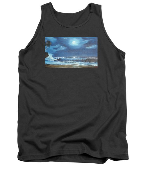 Moon Light Night In Paradise Tank Top by Lloyd Dobson