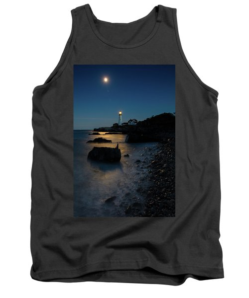 Tank Top featuring the photograph Moon Light Over The Lighthouse  by Emmanuel Panagiotakis