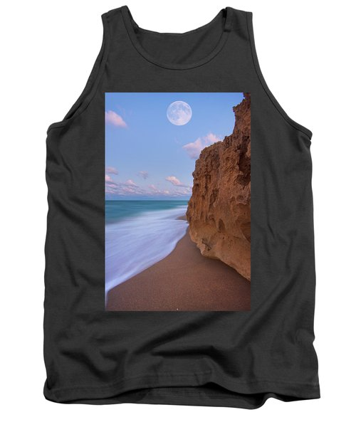 Tank Top featuring the photograph Moon Over Hutchinson Island Beach by Justin Kelefas