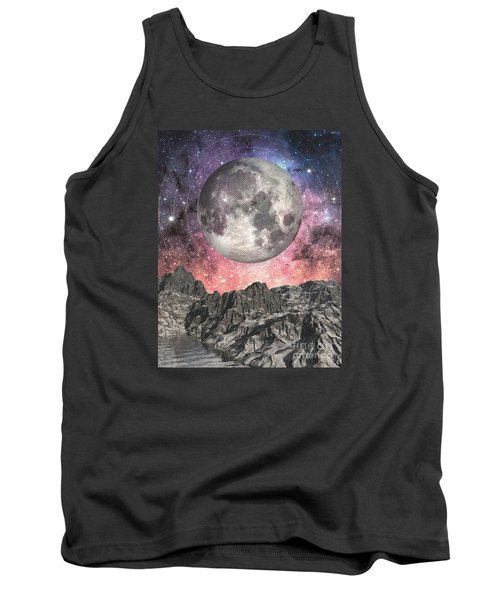 Tank Top featuring the digital art Moon Over Mountain Lake by Phil Perkins