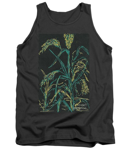 Tank Top featuring the mixed media Moonlight Wheat by Vicki  Housel