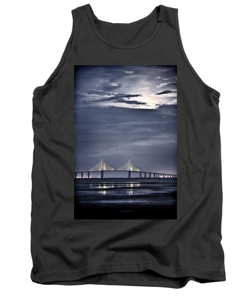 Moonrise Over Sunshine Skyway Bridge Tank Top