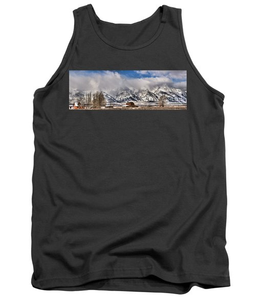 Tank Top featuring the photograph Mormon Row Early Winter Panorama by Adam Jewell