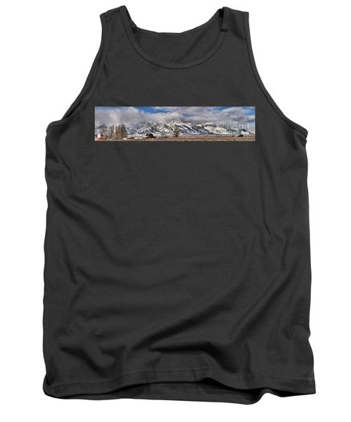 Tank Top featuring the photograph Mormon Row Snowy Extended Panorama by Adam Jewell