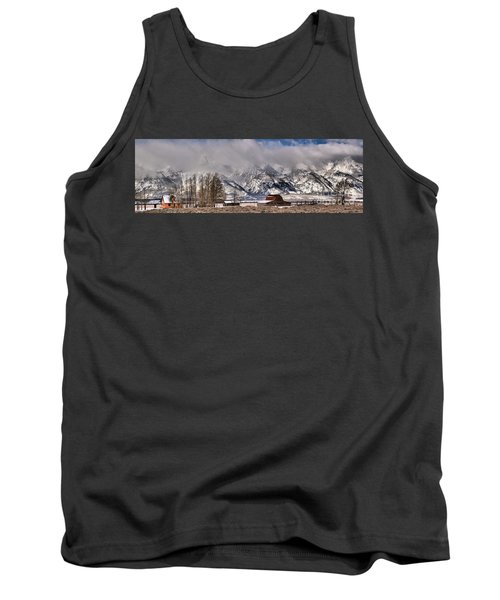 Tank Top featuring the photograph Mormon Row Winter Panorama by Adam Jewell