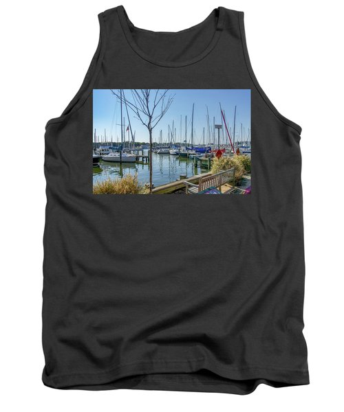 Tank Top featuring the photograph Morning At The Marina by Charles Kraus