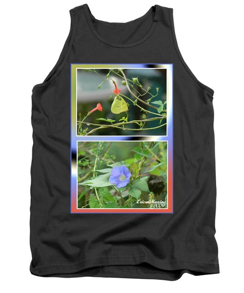 Tank Top featuring the photograph Morning Glories And Butterfly by EricaMaxine  Price