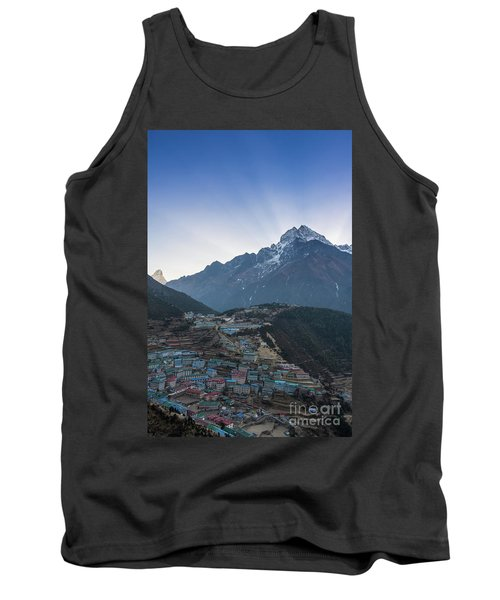 Tank Top featuring the photograph Morning Sunrays Namche by Mike Reid
